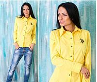 "Женская рубашка ""Polo"" желтая OS-94"