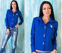 """Женская рубашка """"Polo"""" синяя OS-91"""