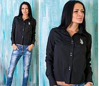 """Женская рубашка """"Polo"""" черная OS-95"""