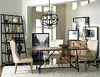Стол, книжная полка и люстра в стиле лофт