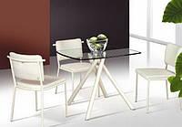 Стол прямоугольная стеклянная столешница ТВ91 бежевый, 90*90*75 см