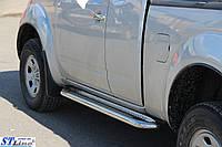 Nissan Navara 2006-2015 гг. Боковые площадки Premium (2 шт, нерж) 42 мм