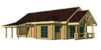 Дом из дикого сруба 13,3x12,3