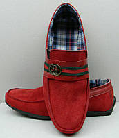 Мокасины детские-подростковые Gucci замша натуральная красные  Uk0164