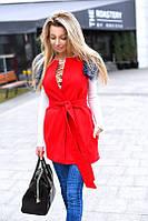 Элегантная кашемировая женская жилетка на поясе, с искусственным мехом на карманах, в разных цветах