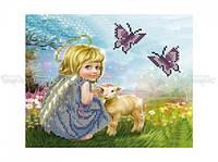 Схема вышивки бисером «Ангелочек с ягненком» (A4)