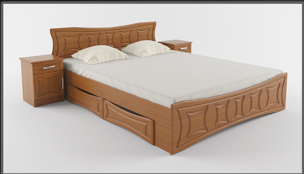 Двухспальная кровать с ламелями и с ящиками Созвездие Летро