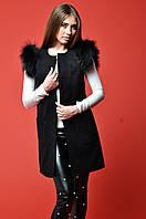 Модный жилет с мехом на плечах черный TD 3034