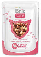 100121 Brit Care Pouch Cat Курица и утка, 80 гр