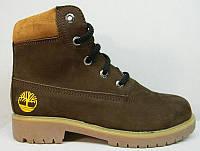 Ботинки демисезонные подростковые Timberland нубук коричневые T0019-1