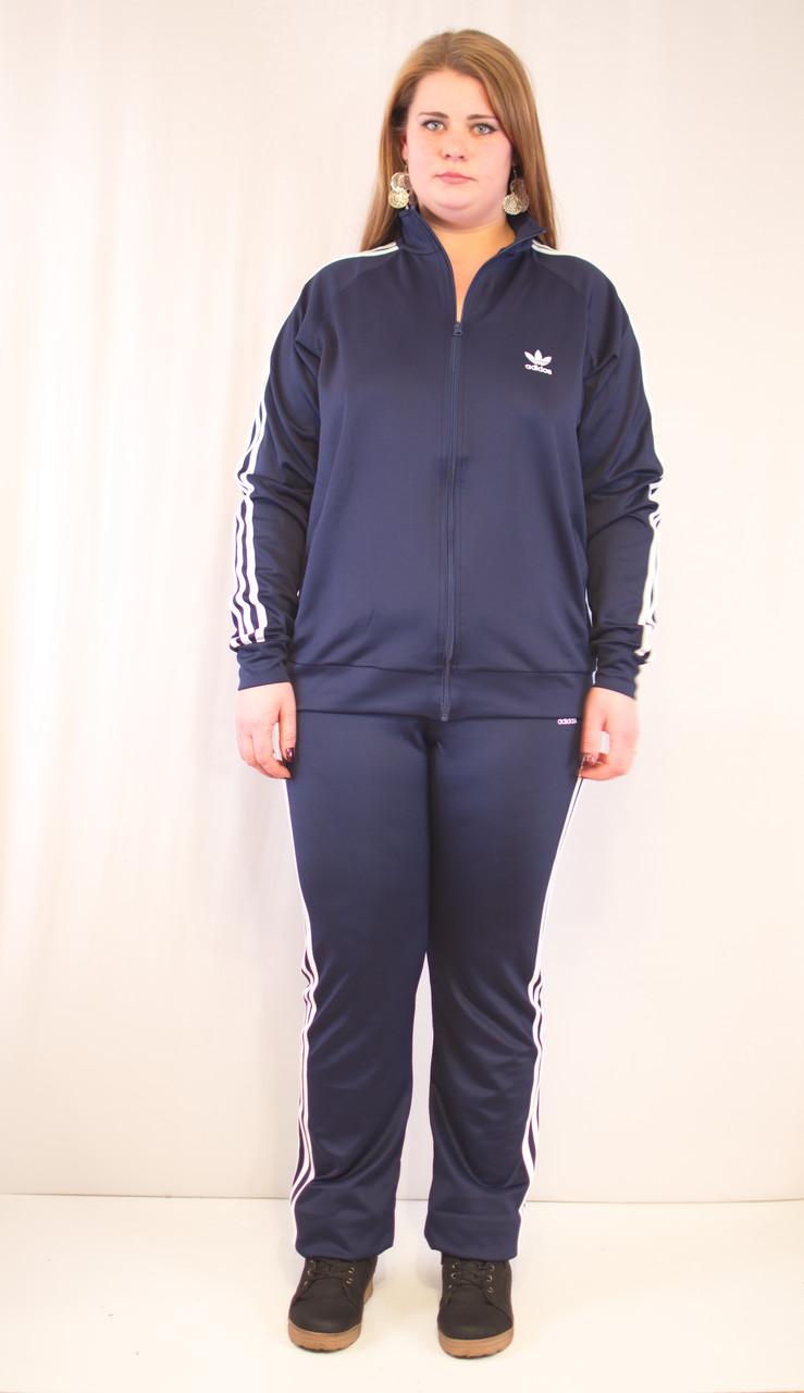 Синий спортивный женский костюм адидас