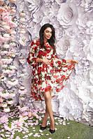 Шифоновое пышное женское платье с цветочным принтом рукава-фонарики