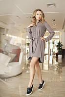 Асимметричное замшевое платье-рубашка с длинным рукавом под пояс