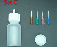 Бутылочка для рисования и 4 апликатора с длинными металлическими носиками (сет С)