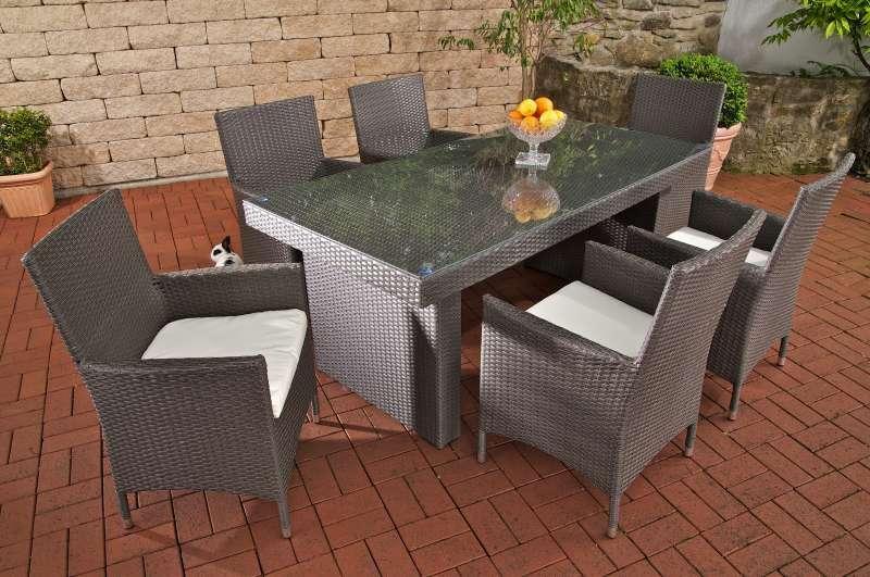 Комплект мебели из ротанга на 6 персон серый