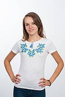 Белая вышитая футболка женская Лилия, фото 1