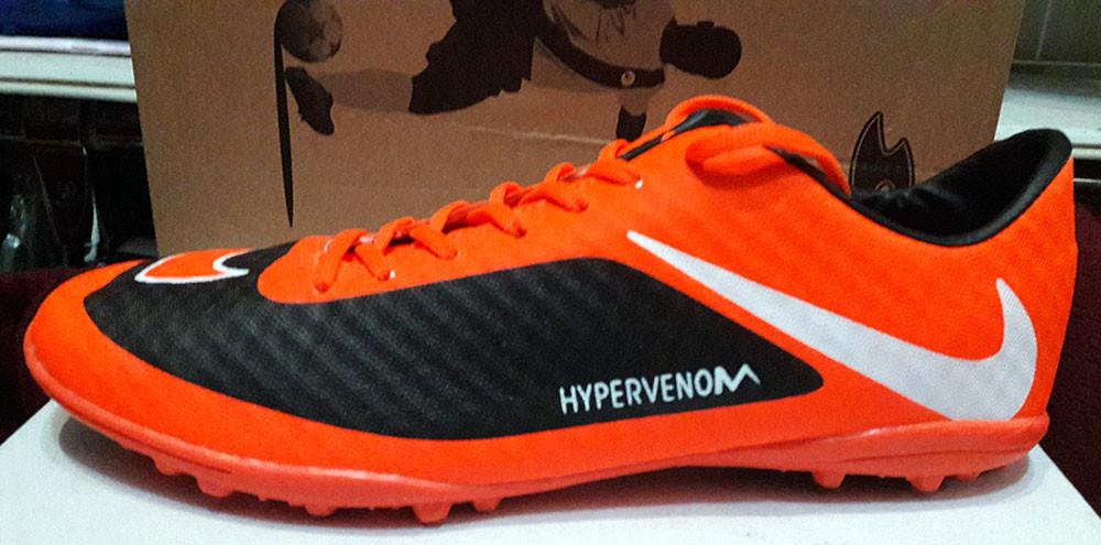 dd9bda00 Кроссовки футбольные (бутсы, копочки, сороконожки) Nike оранжевые с черным  NI0053 - Обутик