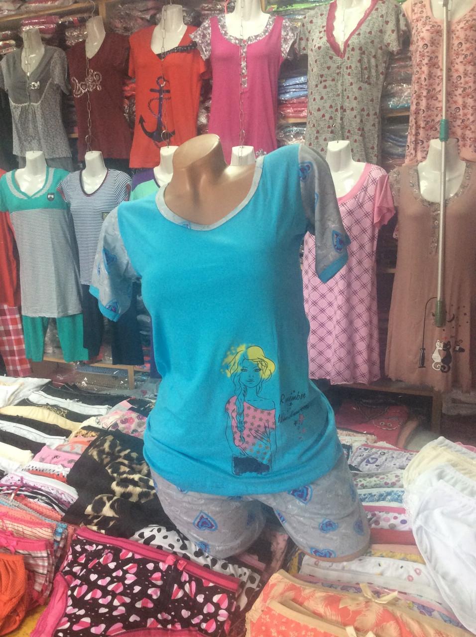 Жіноча піжама шорти +футболка