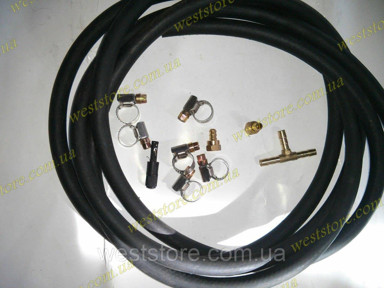 Комплект подкачки набор шланги  для пневмоподушек в пружину 3 метра резиновый (хомуты нержавейка)