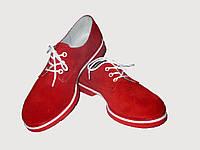 Красные женские туфли на шнурке из замши, фото 1