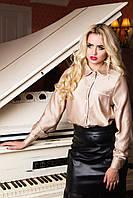 Роскошная женская блуза на аккуратных пуговичках с отложным воротничком, накладным карманом на груди, 42-52 р