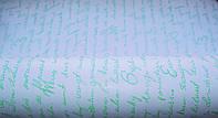 Крафт-бумага подарочная (для цветов) Салатовое письмо на белом фоне 10 м/рулон