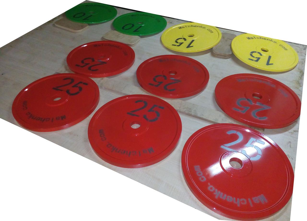 Диск для грифа Стальной Стандартный 450 мм, 25 кг - красный