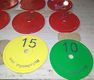 Диск для грифа Стальной Стандартный 450 мм, 25 кг - красный, фото 3
