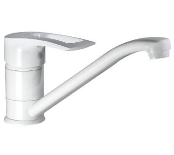 Смеситель для кухни Haiba Hansberg белый с коротким поворотным гусаком