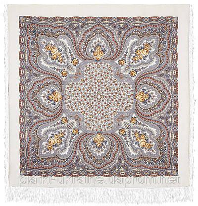 """Платок шерстяной с шелковой бахромой """"Фея сирени"""", 146x146 см. рис 406-3"""