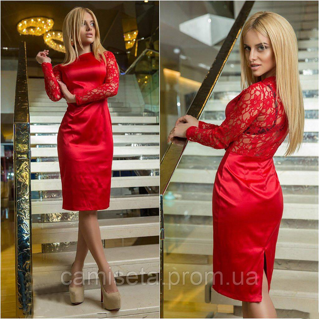 Женское атласное платья