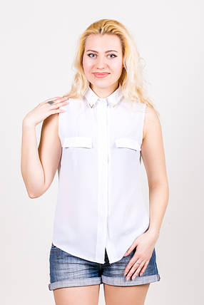 Блузка из шифона 211 белая размер 44, фото 2