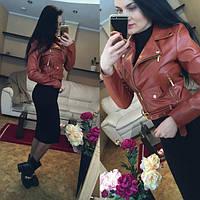 Куртка женская стильная из кожзама 3 цвета, Украина,Размеры: S, M, L