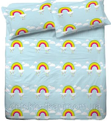 Бязь для детского постельного белья с радугой.