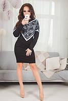 Платье из трикотажа с гипюр вставкой 3 цвета