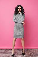 Деловое облегающее женское платье по колено в клетку рукав длинный жаккард трикотаж
