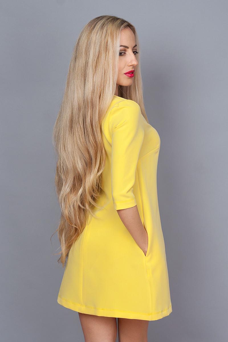 Платье мод. 237-7,размер 48 бледно желтое