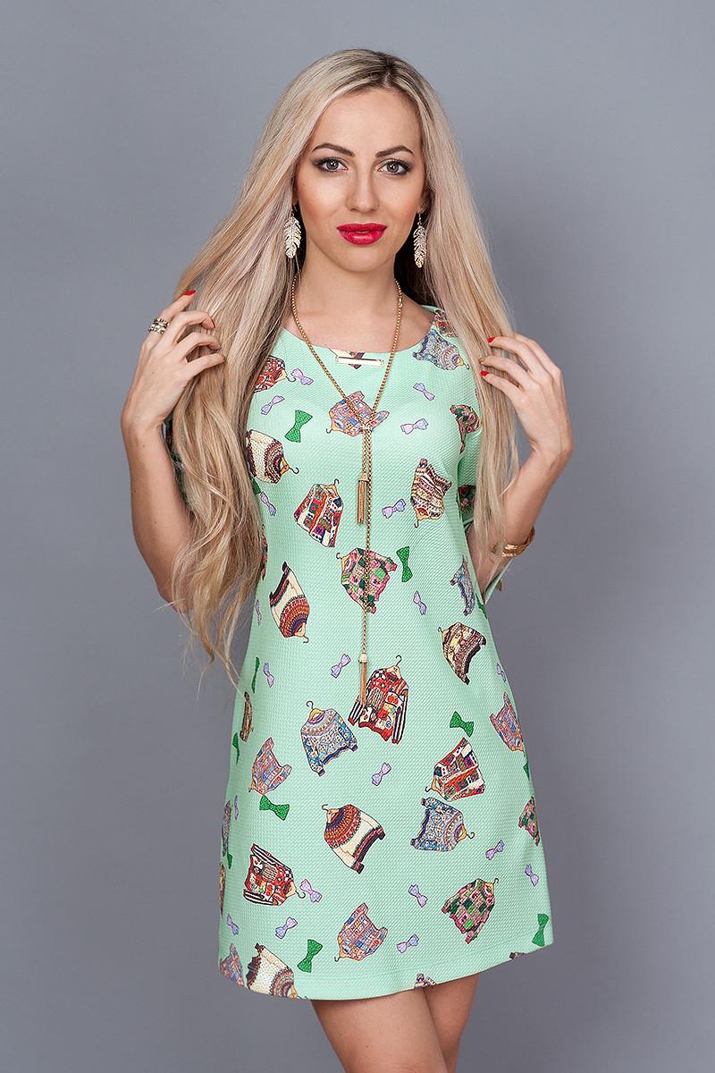 Платье мод. 237-8,размер 44 мята -принт