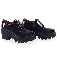 Модные женские туфли Kento (удобные, синие, лаковые, весна-лето, на платформе, на каблуке, на шнуровках)