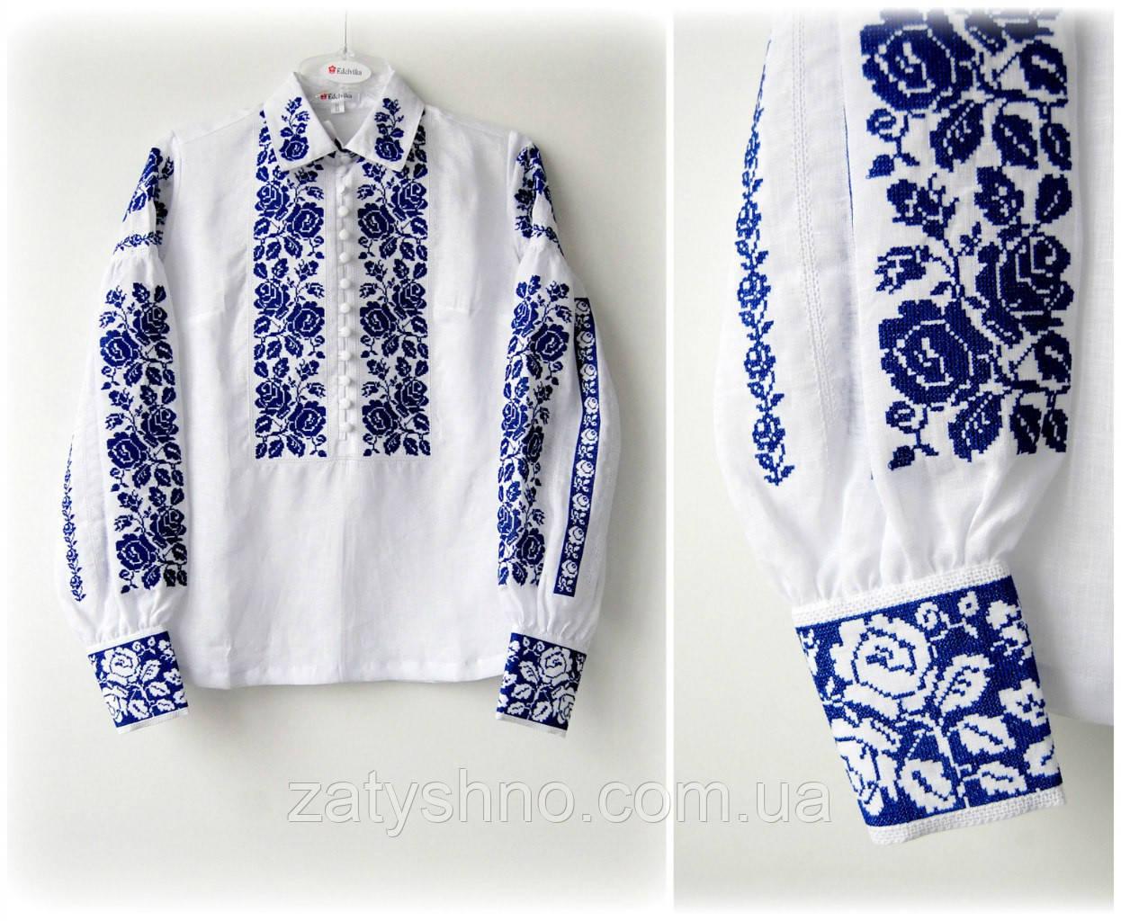 Вышиванка женская, лен, синий орнамент
