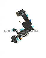 Шлейф с разъемом зарядки для iPhone 5c черный (Оригинал)