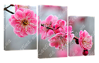 Модульная картина с часами 4 цвет сакуры