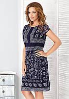 Женское летнее кружевное платье темно-синего цвета с коротким рукавом. Модель Asia Top-Bis, весна-лето 2016.