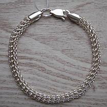 Срібний браслет, 180мм, 9 грам, плетіння Пітон, фото 3