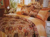 Атласный постельный комплект на двуспальную кровать