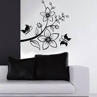 Интерьерная наклейка на стену черно-белая Бабочки и Цветы (JM7081)