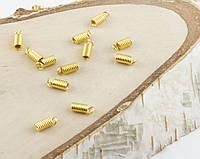 Зажим пружинка золото 9х3мм  (10 штук)
