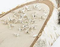Зажим ракушка светое серебро 8мм (20штук) (товар при заказе от 200 грн)