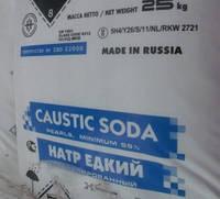 Сода каустическая гранулированная, чешуя в мешках по 25 кг. Производство Россия