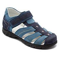 Светло-синие подростковые босоножки FS Сollection для мальчика, кожаные, размер 32-39